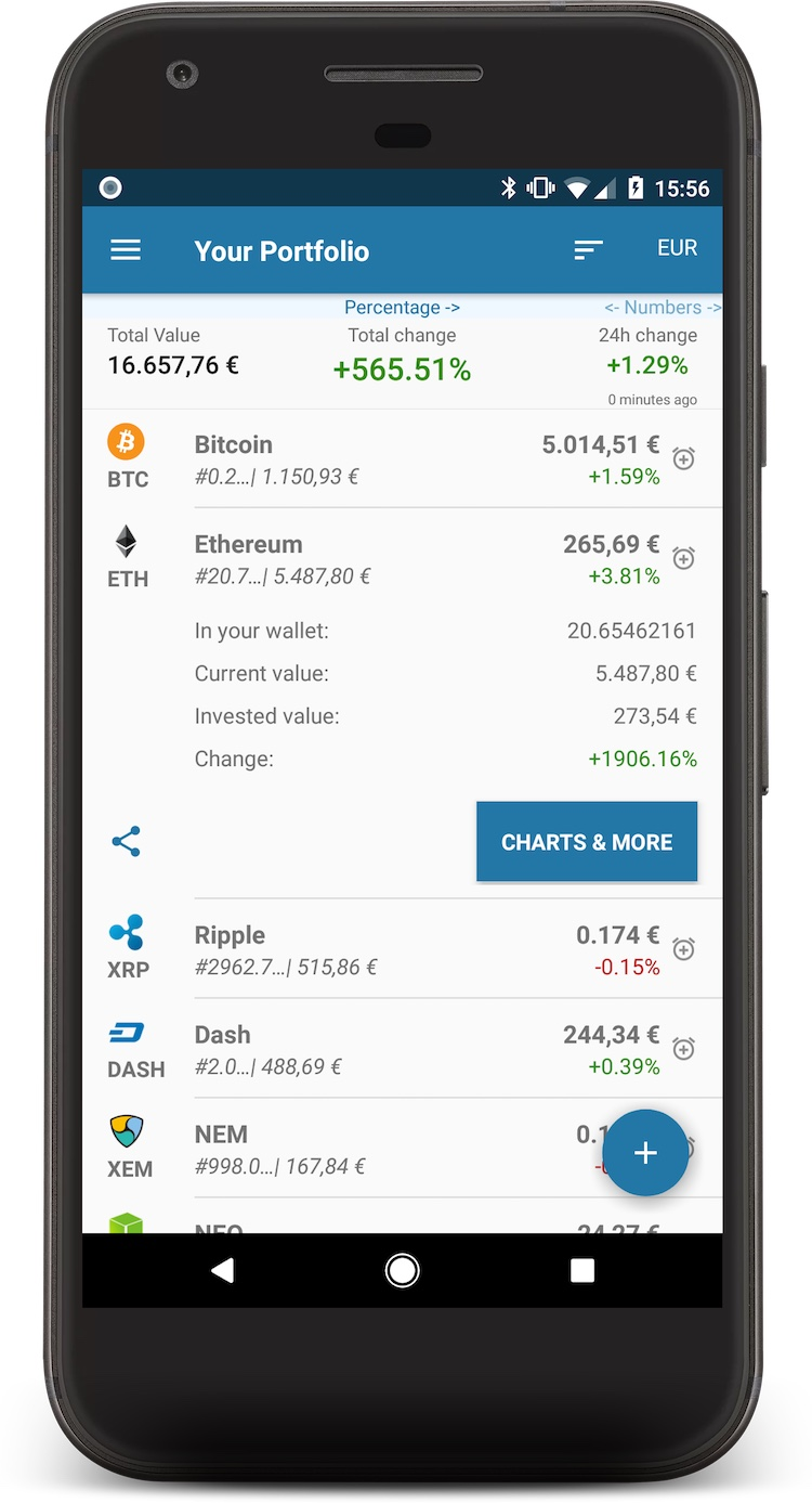 Coin portfolio app screenshot